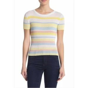 Elodie short sleeve ribbed Knit Sweater Top  EP13